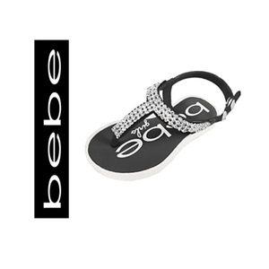 🆕 Bebe Girls Black & White Rhinestone Sandals